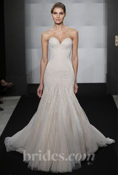 Brides.com: Mark Zunino for Kleinfeld - 2013. Style MZBF58, nude strapless beaded tulle A-line wedding dress with a sweetheart neckline, Mark Zunino for Kleinfeld  See more wedding dresses in our gallery.