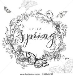 Hello, spring. Spring Concept. Spring background with  a wreath of wild flowers, dandelions, grass, with butterflies. Template Vector.