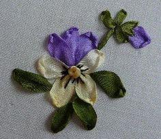 Fita de seda bordado: Tutorial - Viola