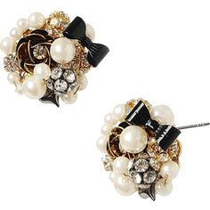 Betsey Johnson Button Pearl Antique Silver Earring ($15) ❤ liked on Polyvore featuring jewelry, earrings, accessories, brincos, stud earrings, white, white stud earrings, white pearl earrings, white flower earrings and heart earrings