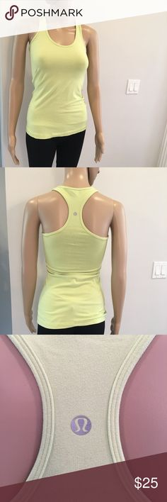 Yellow lululemon racerback tank top Yellow lululemon racerback tank top used but on good condition buy 2 items get 1 FREE , bundle discounts & accepting all reasonable offers lululemon athletica Tops Tank Tops