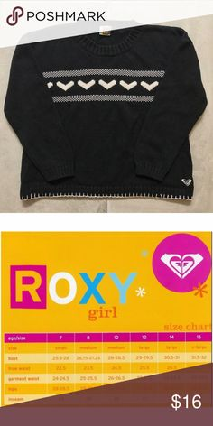 Roxy Girls Black and White Sweater Size Medium EUC Roxy Girls Black and White Sweater Size Medium (8-10)  Tag removed because it was bothering my daughter.   20% bundle discount! Smoke- & pet-free home Any questions? Just ask! Roxy Shirts & Tops Sweaters
