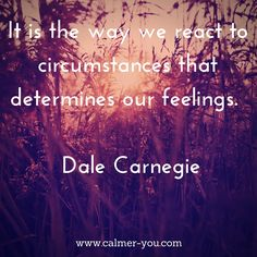 It is the way we react to circumstances that determines our feelings. #calmeryou