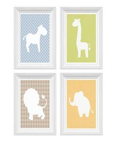 Baby Lion Elephant Giraffe Zebra Nursery Art by FMDesignStudio, $45.00