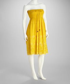 Take a look at this Gold Shirred Strapless Dress by SR Fashions on #zulily today!
