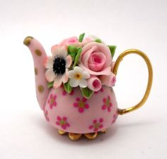 1/12TH scale  romantic chic teapot by Lory by 64tnt on Etsy