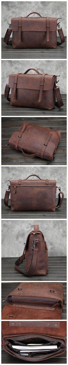 Crazy Horse Leather Laptop Bag, Leather Briefcase, Leather Messenger Bag, Men's Business Bag