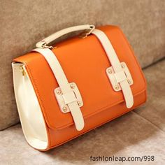 Orange and white structured bag