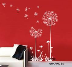 Dandelions in the Wind - White Vinyl Wall Decal Sticker Art for bedroom,living room Office Wall Decals, Wall Decals For Bedroom, Nursery Wall Stickers, Bedroom Art, Wall Decal Sticker, Wall Vinyl, Sticker Ideas, Kids Bedroom, Dandelion Wall Decal
