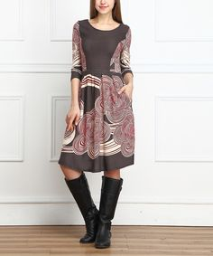Charcoal Cloud Fit & Flare Dress - Women