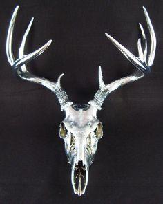 Unique Large  Chrome 9 point Deer Skull Antler Art Sculpture