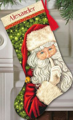 Cross Stitch Kit - SECRET SANTA STOCKING - Dimensions Christmas Stocking counted cross stitch kit - santa cross stitch stocking  WEBSITE - http://www.theangelsnook.com  Item Id: DG70-08938  Dimensions Gold Collection Finished size: Approx. 16 Long  Kit contains: Cotton thread, metallic thread, wool yarn, 18 count Aida fabric, felt, needle, easy instructions including an alphabet for personalizing    For updates on sales, promotions and new items visit - http://www.theangel...