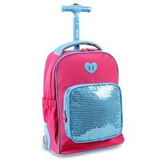 J World New York Sparkle Kids Rolling Backpack, Pink. Front pocket organizer with pencil holders, card holders, and a zippered pocket. Air mesh cushion padded shoulder straps and back with slip-in system. Colorful Backpacks, Kids Backpacks, School Backpacks, Hiking Backpack, Backpack Bags, Kids Rolling Backpack, Kids Clothes Online Shopping, Luxury Kids Clothes, Unicorn Fashion