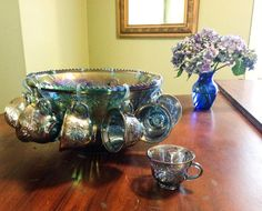 Carnival glass punch bowl set. 12 cups 11 by tompkinsoriginal