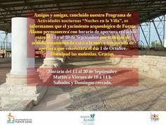 Concluido el programa de actividades nocturnas #NochesEnLaVilla20016 os informamos de que la Villa Romana de Fuente Alamo en #PuenteGenil tendrá horario de apertura reducido entre el 13 y el 30 de septiembre: Martes a viernes de 10:00 a 14:00 h. Sábados y domingos CERRADO.