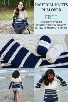 Free crochet pattern for the Nautical Knots pullover for women. It comes from small petite sizes to plus sizes. Perfect summer crochet sweater for her, with lovely stripe details. This crochet pattern is crocheted from the top down and is a perfect introduction for crocheting garments with that construction. #crochet #crochetpattern #freecrochet via @joyofmotion