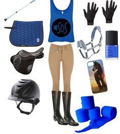 Blue English riding outfit made on Poly Vore