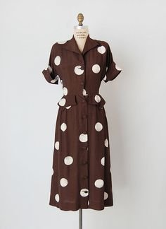 1940's Polka Dot Peblum Dress