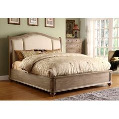 Riverside Furniture Coventry Sleigh Upholstered Headboard in Weathered Driftwood