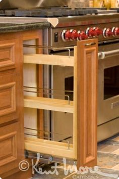 custom cabinetry by kent moore cabinets spice rack maple wood with golden nutmeg stain. beautiful ideas. Home Design Ideas