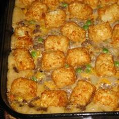 MUCH BETTER Tater Tot Casserole!! Only had Cream of Chicken w/Herbs on hand, but it was fantastic!!Added shredded colby-jack into meat mix and sprinkled cheese on top of tater tots during the last few mins in the oven. Also added a touch of liquid smoke while adding the ketchup, etc. ;)