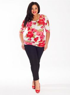 Mindy Plus Size Top in Tuberose Trendy Curvy | Plus Size Fashion | Fashionista | Shop online at www.curvaliciousclothes.com TAKE 15% OFF Use code: SVE15 at checkout