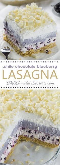 Blueberry Lasagna White Chocolate Blueberry Lasagna is perfect summer dessert recipe- light, easy and no oven required!White Chocolate Blueberry Lasagna is perfect summer dessert recipe- light, easy and no oven required! 13 Desserts, Summer Dessert Recipes, Delicious Desserts, Yummy Food, Easy Summer Desserts, Layered Desserts, Recipes Dinner, Summer Dishes, Light Desserts