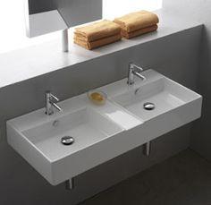 Soho 2 1060x460mm double 1-taphole wall basin