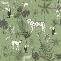 531817 - Kids Wallpaper by Rasch of the collection Bambino XVIII in dark green with jungle animals. Tier Wallpaper, Wallpaper Paste, Adhesive Wallpaper, Wallpaper Online, Animal Wallpaper, Wallpaper Roll, Wall Wallpaper, Dark Green Wallpaper, High Quality Wallpapers