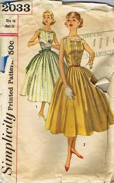 Vintage Pattern Rockabilly Dress Sleeveless Simplicity 2033 1950's Fashion CHIC