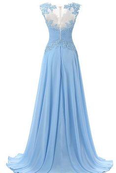 Fashion A-line Prom Dress,Scoop Sweep Train Chiffon Sleeveless Light Blue Prom/Evening Dress,111044037