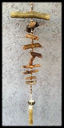 Garden Art Chime Natural Forest Wood Mobile  by handmadebyfofo