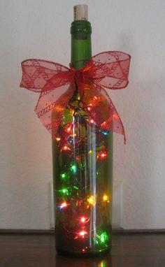 lights in wine bottles - Google Search