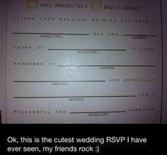 Funny wedding RSVP