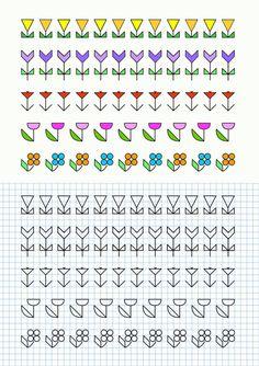 cornicette per la scuola Cross Stitch Borders, Cross Stitching, Cross Stitch Patterns, Graph Paper Drawings, Graph Paper Art, Blackwork Patterns, Blackwork Embroidery, Small Canvas Art, Art Plastique