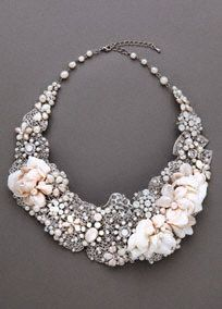 Hm... -->This necklace is a beautiful mix of soft pastels and hard casted pieces. Together, this mixture makes a one-of-a-kind stunner, sure to make you the belle of the ball!  Available in: Silver.  Fabric content: Soft fabric flowers mix with crystals, beads, pearls, and metal.  Imported.