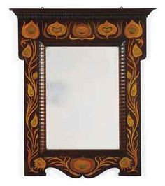 A SHAPLAND & PETTER MAHOGANY AND MARQUETRY WALL MIRROR 1900