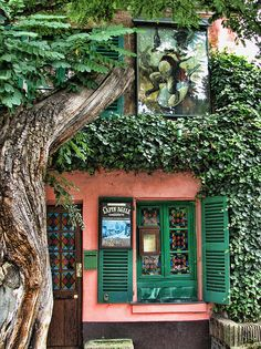 Montmartre - Au Lapin Agile. Wonderful greens and pink.