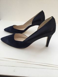 c1aa2baab269 Cole Haan Rendon Pump II Midnight Blue 10B W09680 high heel suede pointed  toe  ColeHaan