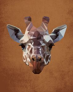 Giraffe, Geometric, Poly, Polygon, Poster, Art, Illustration, Safari, Africa, Kid Nursery, Jungle, Shapes, Orange, Home Decor [NO 005] by IronBrothers17 on Etsy