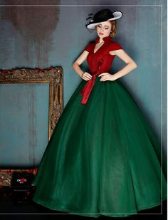 Vintage Inspired Color Block Ball Gown