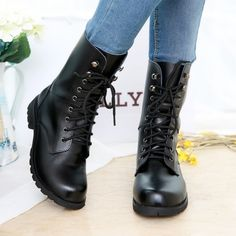$42 Upper material: leather monolayer Closed method: front lace  Tube high: 9.5cm Fashion boots paragraph: Martin Function: non-slip Popular elements: rivet Heel height: 3cm-5cm Sole: rubber non-slip bottom  visiting store: http://www.storenvy.com/stores/188265-cute-kawaii find more amazing...