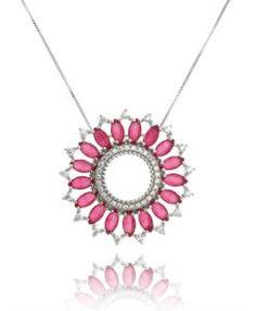 colar mandala rubi com banho de rodio semi joias finas