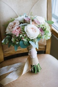 Rustic bouquet with a stitched monogram: http://www.stylemepretty.com/maryland-weddings/2014/09/08/classic-wedding-by-the-chesapeake-bay/ | Photography: Natalie Franke - http://www.nataliefranke.com/
