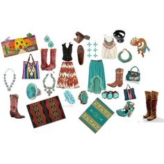 Southwestern Style, created by elyn-hamilton on Polyvore    Turquoise ring at http://www.silvertribe.com/Turquoise-Ring