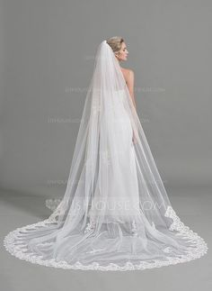 Cathedral Bridal Veils Tulle One-tier Oval Drop Veil Lace Applique Edge Applique 118.11 in (300cm) White Ivory Ivory Spring Summer Fall Winter A-line/Princess Empire 0.378kg 110.24 in (280cm) Wedding Veils