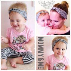 Mommy  amp  Me striped headband set Turban Headbands fd943557f8e