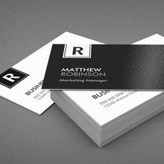 Customizable Classy Monogram - Modern Black and White Business Card Template