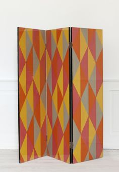 1950′s, France   Folding Screen, Laquered fabric.