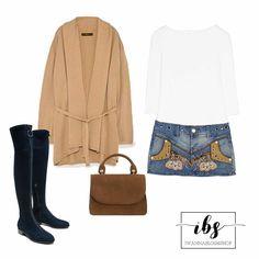 Denim Outfit Fall, Overknee Boots, Denim Skirt DSQUARED2